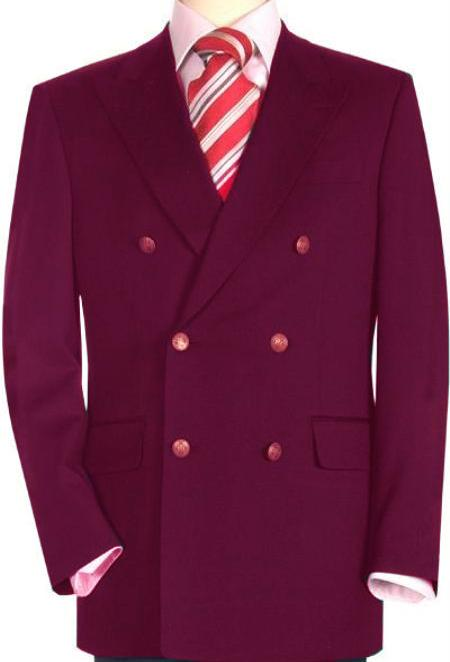 SKU#BRY8123 High Quality Burgundy Double Breasted Blazer with Peak Lapels $199