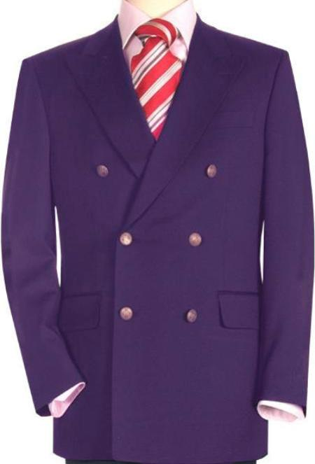 "SKU#PRP825 High Quality Purple Double Breasted Blazer with Peak Lapels Pre Order Collection ""30 Days Delivery"" $795"