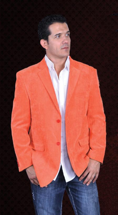 SKU#ORN278 Mens Cotton/Rayon 2 Button Sport Coat Notch Lapel Side Vents Orange