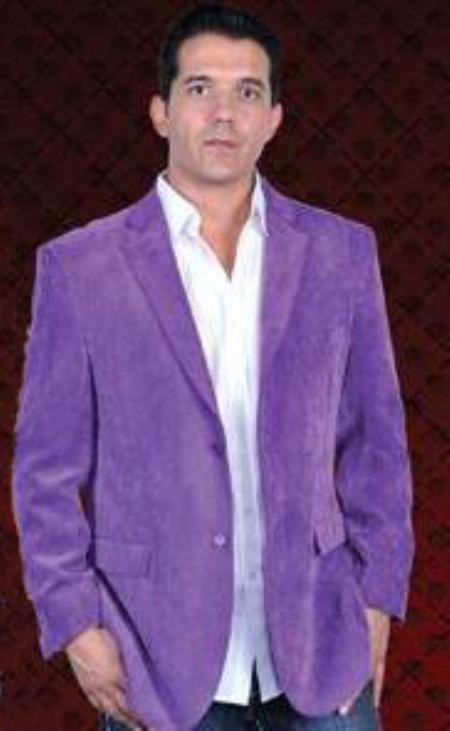SKU#PLE231 Mens Cotton/Rayon 2 Button Sport Coat Notch Lapel Side Vents Purple $139