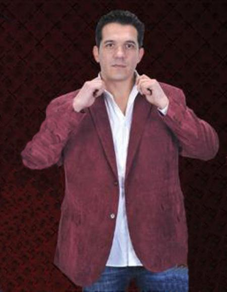 SKU#BGN712 Mens Corduroy 2 Button Sport Coat Notch Lapel Side Vents Burgundy $139