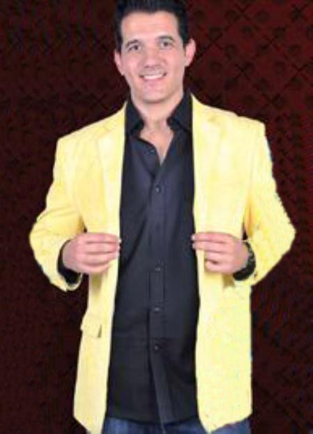 SKU#YLW912 Mens Cotton/Rayon 2 Button Sport Coat Notch Lapel Side Vents Yellow $139