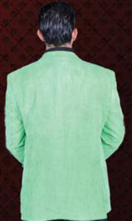 SKU#LMG921 Mens Cotton/Rayon 2 Button Sport Coat Notch Lapel Side Vents Lime Green $99