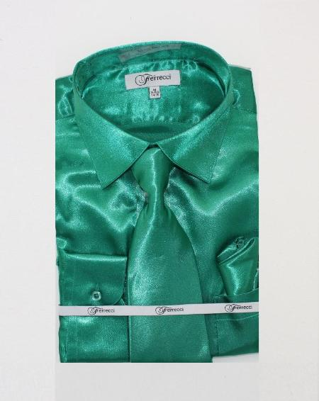 Fer_SH1 Mens Shiny Luxurious Shirt Green $59