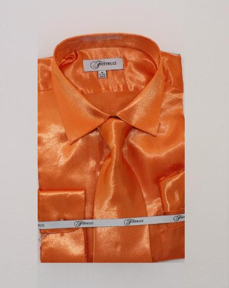 Fer_SH1 Mens Shiny Luxurious Shirt Orange