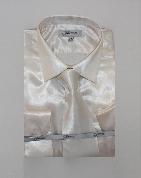 1960s – 1970s Mens Shirts- Dress, Mod, Disco, Turtleneck Mens Shiny Luxurious Shirt Off White $59.00 AT vintagedancer.com