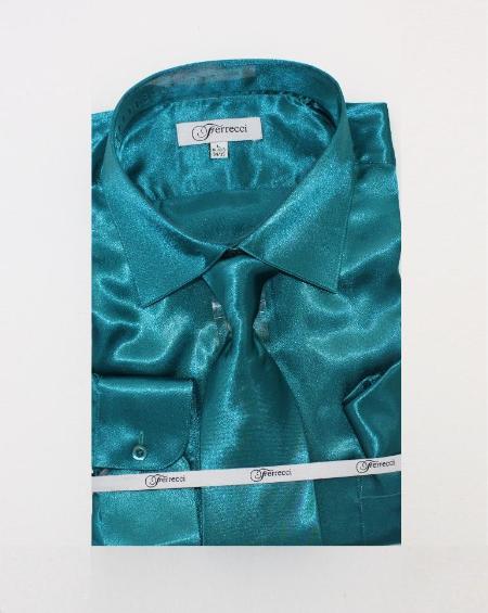 Fer Sh1 Mens Shiny Luxurious Shirt Teal 59 Mens Dress