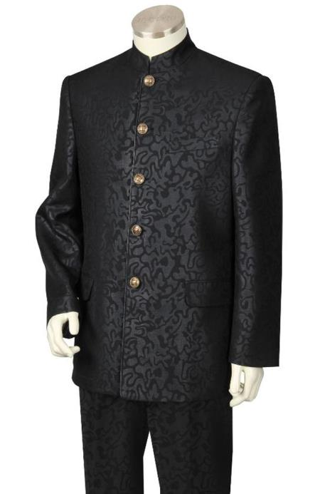 SKU#BLK823 Mens 2 Piece Nehru Suit - Fancy Patterned Black $249