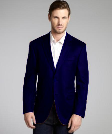 SKU#NBE204 Navy Blue Wool & Cashmere Blend 2 Button Blazer $139