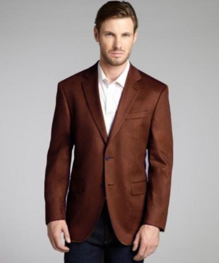 Dark Brown Wool & Cashmere Blend 2 Button Blazer