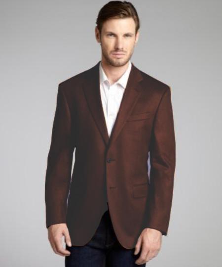 Chocolate Brown Wool & Cashmere Blend 2 Button Blazer