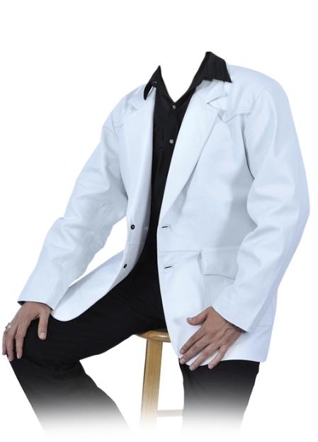 SKU#WHT225 White Genuine Lamb Skin Blazer Jacket $249