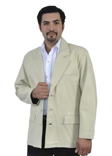SKU#WWE243 Cream ~ Ivory ~ Off White Genuine Lamb Skin Blazer Jacket $249