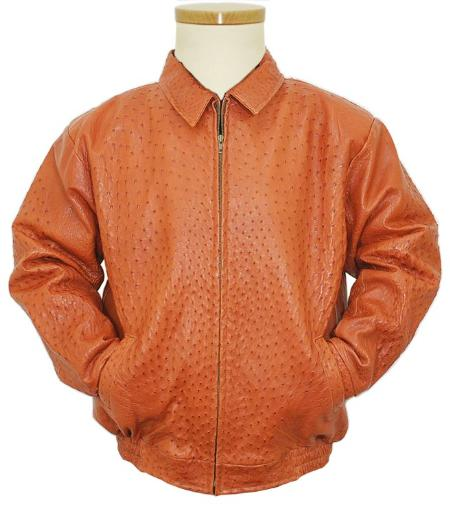 SKU#CNA382 Cognac All Over Genuine Ostrich Jacket