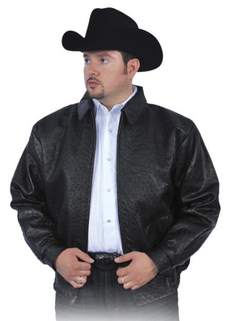 SKU#BLK841 Black All Over Genuine Ostrich Jacket