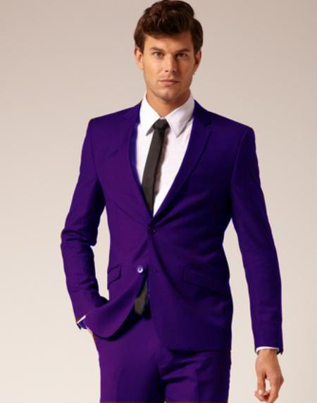 SKU#PUL231 Mens 2 Button Style Suit Flat Front Pants Purple $175