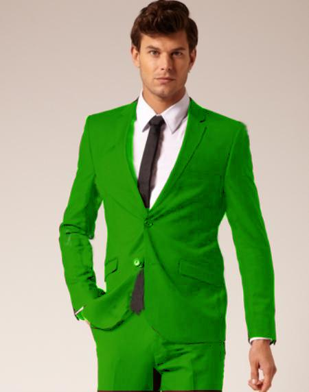 SKU#LMG725 Mens 2 Button Style Wool & Cotton Suit Flat Front Pants Lime Green $175