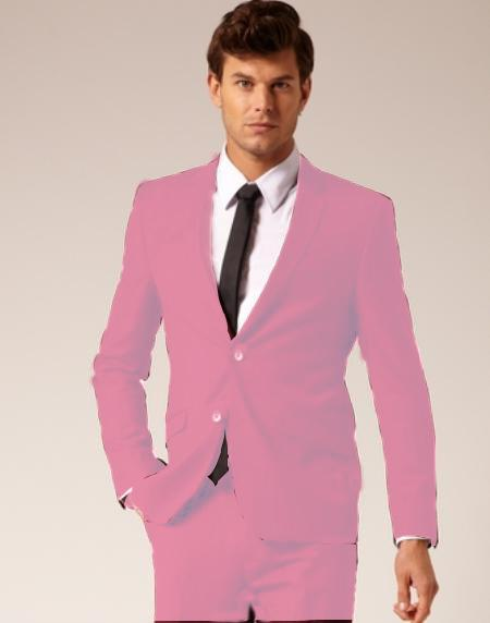 SKU#PNK914 Mens 2 Button Style Wool & Cotton Suit Flat Front Pants Pink $175
