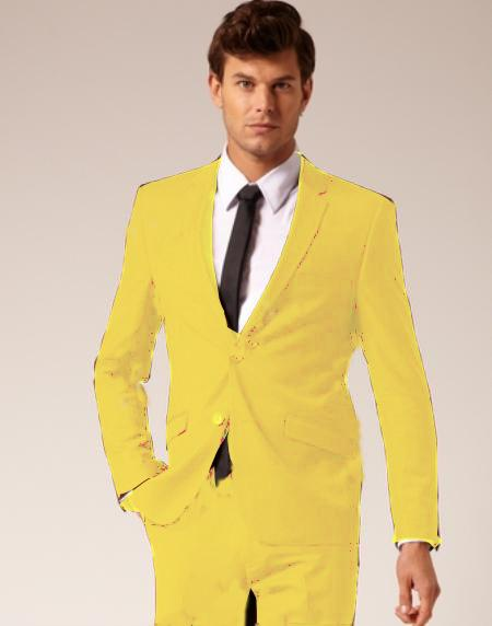 SKU#YLW926 Mens 2 Button Style Wool & Cotton Suit Flat Front Pants Yellow $175