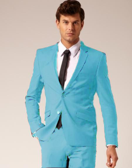SKU#SKB943 Mens 2 Button Style Wool & Cotton Suit Flat Front Pants Light Blue ~ Sky Blue $175