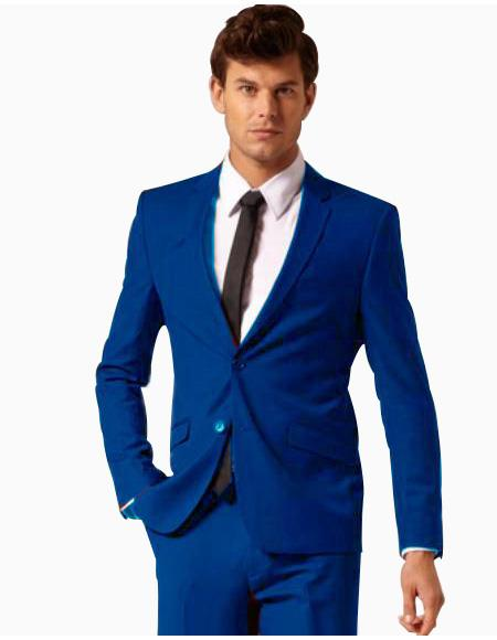 SKU#RYB902 Mens 2 Button Style Wool & Cotton Suit Flat Front Pants Royal Blue $175