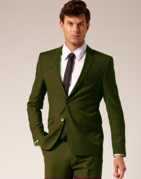 SKU#OLV832 Mens 2 Button Style Wool & Cotton Suit Flat Front Pants Olive $175