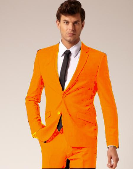 SKU#ORE924 Mens 2 Button Style Wool & Cotton Suit Flat Front Pants Orange $175