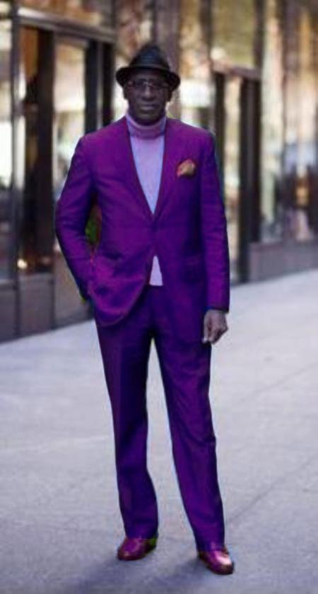 SKU#PRL672 Classic Ultra Smooth 2 Button Suit Purple $139