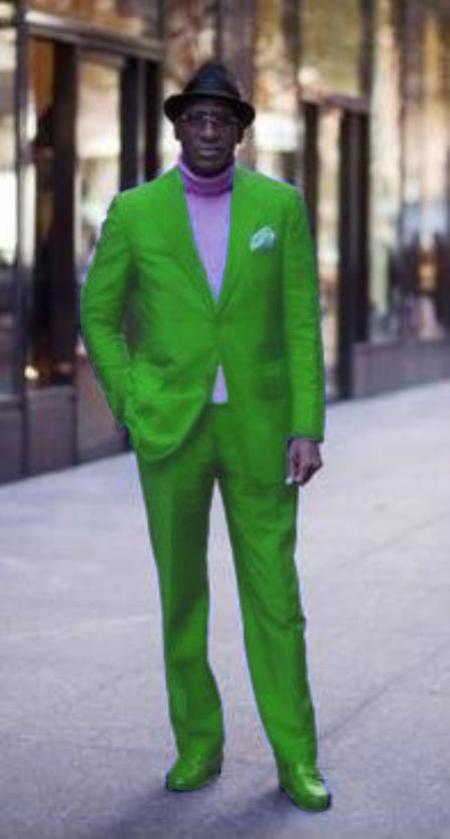 SKU#LMG853 Classic Ultra Smooth 2 Button Suit Lime Green $139