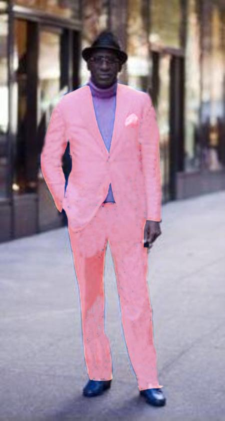 SKU#PNK712 Classic Ultra Smooth 2 Button Suit Pink $175