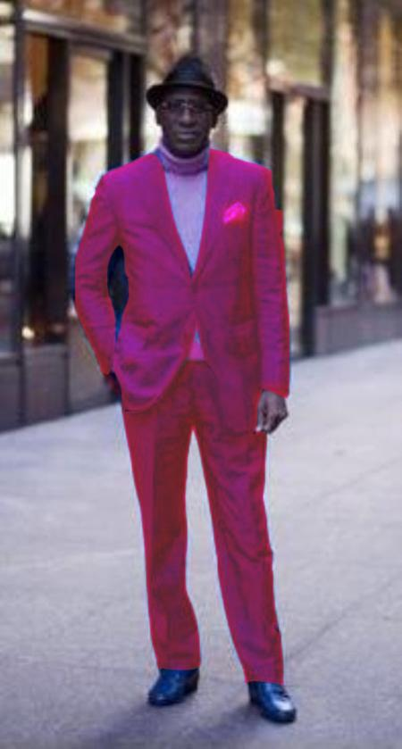 SKU#FSH013 Classic Ultra Smooth 2 Button Suit Fuschia $175