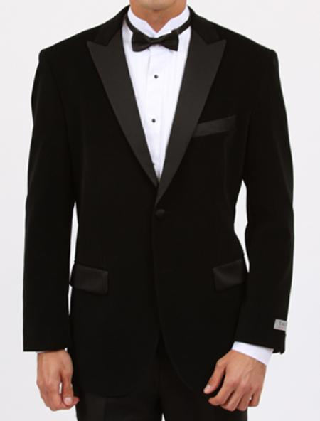SKU#JBL212 Jet Black Velvet With Satin Peak Lapel $139