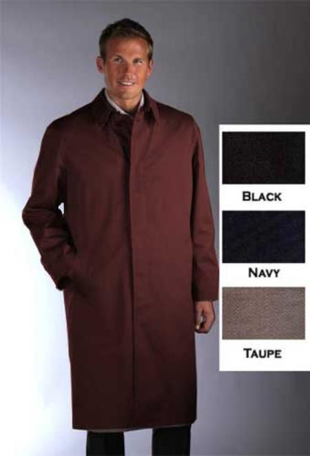 SKU#BRW932 Single Breasted Classic Poplin Raincoat-Trench Coat Brown $189