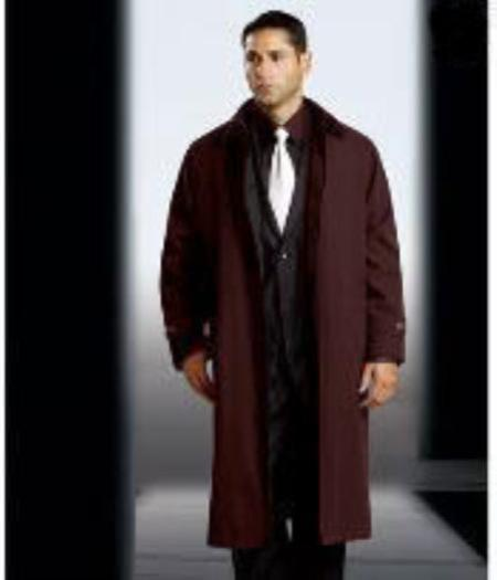 SKU#MP9009 Mens Polyester/Nylon Long Rain Coat-Trench Coat Brown(Snap Off Liner)