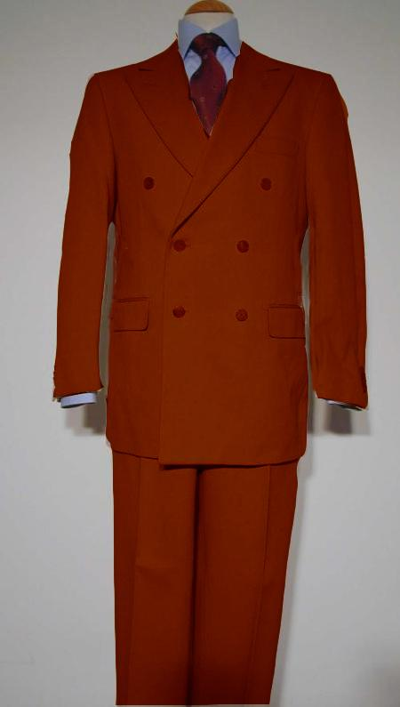 SKU#RST282 Pure Virgin Wool Feel Rayon Viscose Double Breasted Suit Rust $175