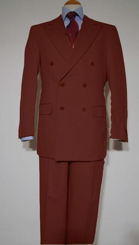 SKU#CPR909 Pure Virgin Wool Feel Rayon Viscose Double Breasted Suit Copper $175