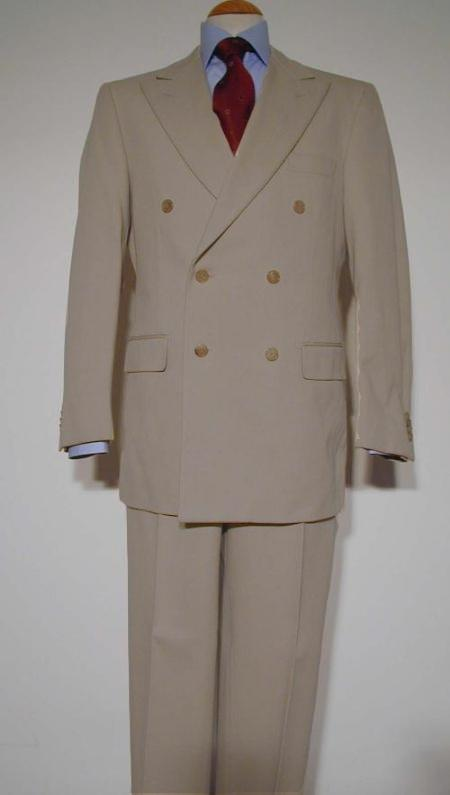 SKU#TUP221 Pure Virgin Wool Feel Rayon Viscose Double Breasted Suit Taupe $175