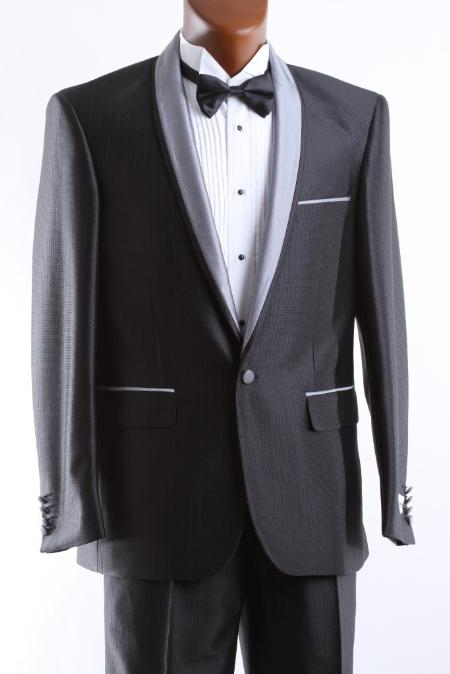 SKU#BLK896 Mens 1 Button Black 3 Pcs Vested Tuxedo Slim Fit $175