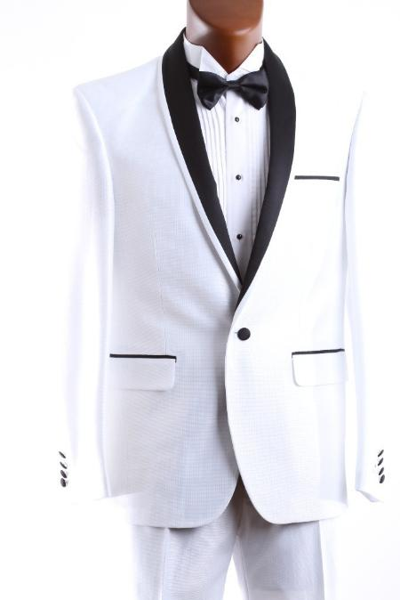 SKU#WHT666 Mens 1 Button White 3 Pcs Vested Tuxedo Slim Fit $175