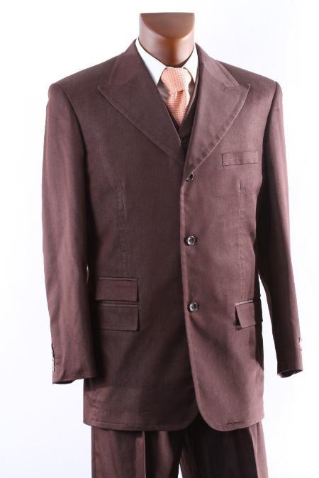 SKU#CCA712 Mens 3 Button Super 150s Cocoa three piece suit with Peak Lapel & Wide Leg Pants