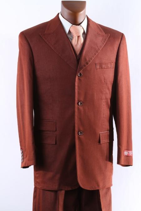 SKU#RST929 Mens 3 Button Super 150s Rust three piece suit with Peak Lapel & Wide Leg Pants $175