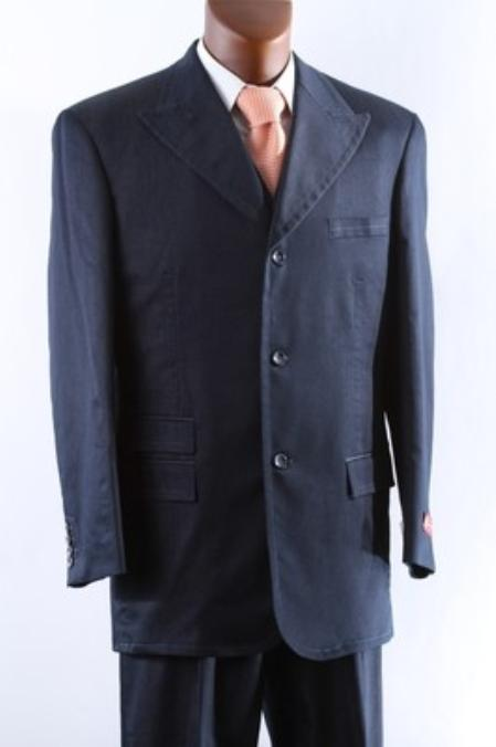 SKU#NBP713 Mens 3 Button Super 150s Blue three piece suit with Peak Lapel & Wide Leg Pants $175