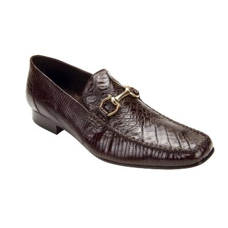 SKU#BRW776 Belvedere Italo Crocodile ~ Alligator  & Lizard Bit Loafers Brown $286
