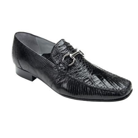 SKU#BLK711 Belvedere Italo Crocodile ~ Alligator & Lizard Bit Loafers Black