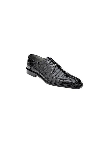 Oxfords Belvedere Chapo caiman ~ World Best Alligator ~ Gator Skin Lace Up Shoes Black