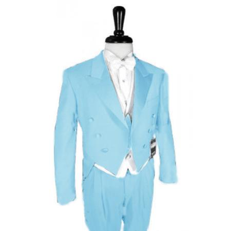 "SKU#SKB888 Super 150's Sky Blue Peak Tailcoat Pre Order Collection ""Delivery in 30 days"" $795"