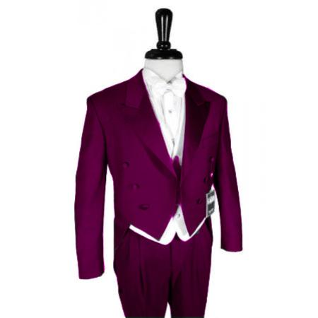 "SKU#BGY777 Super 150's Burgundy Peak Tailcoat Pre Order Collection ""Delivery in 30 days"" $795"