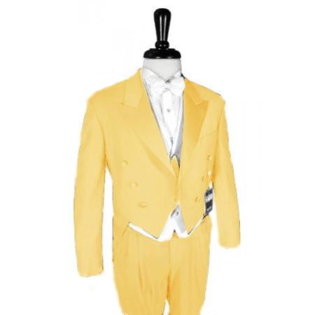 "SKU#YLW890 Super 150's Yellow Peak Tailcoat Pre Order Collection ""Delivery in 30 days"" $795"