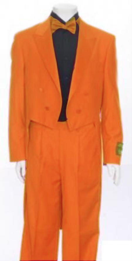 "SKU#ORG677 Mens Tail Peak Lapel Orange Tuxedo Pre Order Collection ""Delivery in 30 days"" $795"