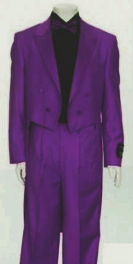 "SKU#PLP193 Mens Tail Peak Lapel Purple Tuxedo Pre Order Collection ""Delivery in 30 days"" $795"